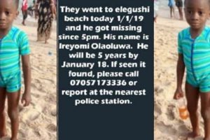 4-year-old boy missing at Elegushi beach on New Year's day