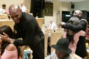 Annie thought her husband, 2face was in Madrid.. But then he showed up from no where and surprised her for their anniversary (video)
