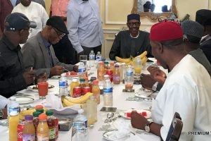 APC Party leaders visit Buhari in the United Kingdom