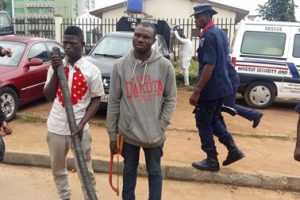 Cable vandals nabbed in the act at Garki, Abuja (photos)
