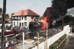 Fire guts filling station, buildings in Onitsha