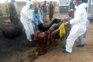 Graphic photo of the pregnant suicide bomber intercepted and gunned down in Borno