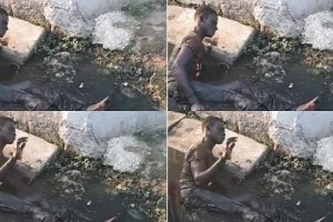 Thief loses his walking ability after he was caught and stripped off his charms in Surulere (Photos and Video)