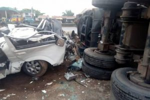 Three Killed, Passengers Thrown Off In Different Directions As Car Crashes Against Truck In Ondo