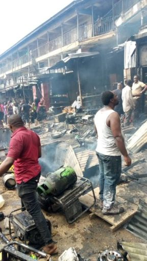 TANKER fell in Onitsha Market